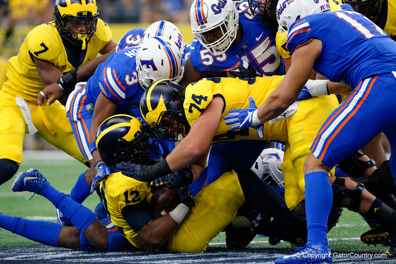 Michigan running back Chris Evans during the first half of the 2017 Advocare Classic at AT&T Stadium in Dallas, Texas as the Florida Gators take on the Michigan Wolverines. September 2nd, 2017.  Gator Country photo by David Bowie.