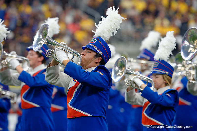 The University of Florida band performing during pre-gamef of the 2017 Advocare Classic at AT&T Stadium in Dallas, Texas as the Florida Gators take on the Michigan Wolverines. September 2nd, 2017.  Gator Country photo by David Bowie.