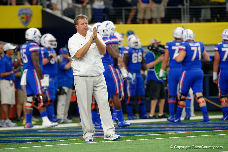 University of Florida Gators head coach Jim McElwain during pre-gamef of the 2017 Advocare Classic at AT&T Stadium in Dallas, Texas as the Florida Gators take on the Michigan Wolverines. September 2nd, 2017.  Gator Country photo by David Bowie.