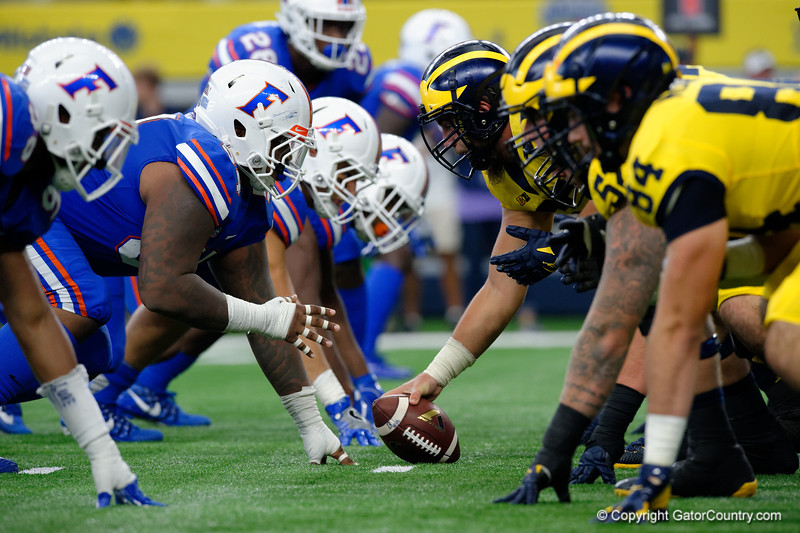 University of Florida Gators defensive lineman Kyree Campbell and the Gators line up during the first half of the 2017 Advocare Classic at AT&T Stadium in Dallas, Texas as the Florida Gators take on the Michigan Wolverines. September 2nd, 2017.  Gator Country photo by David Bowie.