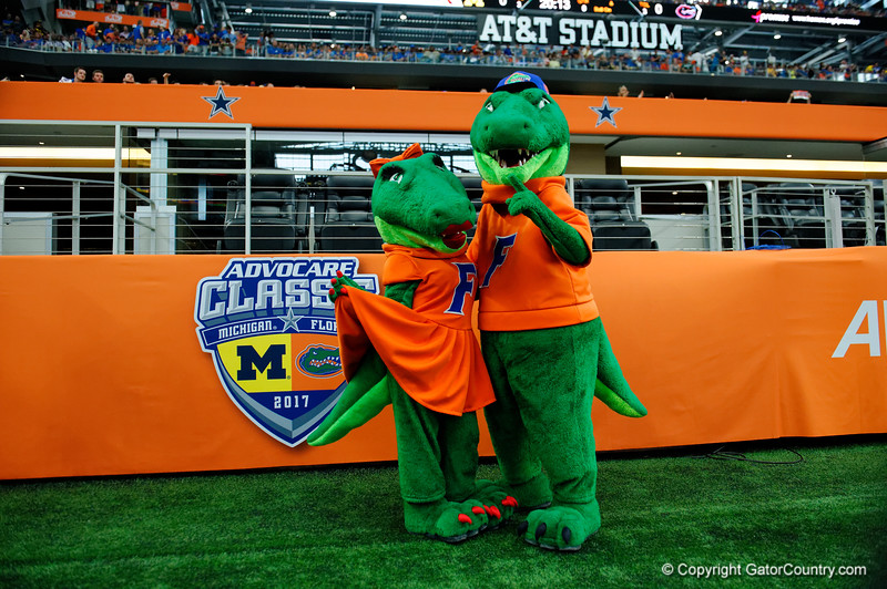 Albert and Alberta pose during pre-gamef of the 2017 Advocare Classic at AT&T Stadium in Dallas, Texas as the Florida Gators take on the Michigan Wolverines. September 2nd, 2017.  Gator Country photo by David Bowie.
