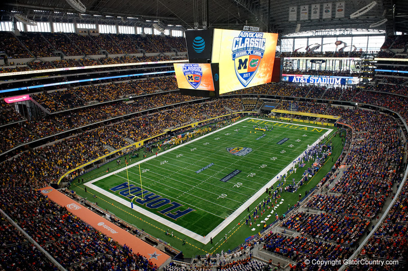 An overview of the stadium during the second half of the 2017 Advocare Classic at AT&T Stadium in Dallas, Texas as the Florida Gators take on the Michigan Wolverines. September 2nd, 2017.  Gator Country photo by David Bowie.