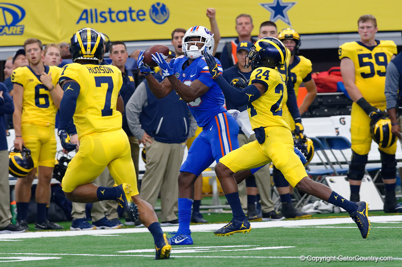 University of Florida Gators wide receiver Josh Hammond with a first down catch during the first half of the 2017 Advocare Classic at AT&T Stadium in Dallas, Texas as the Florida Gators take on the Michigan Wolverines. September 2nd, 2017.  Gator Country photo by David Bowie.