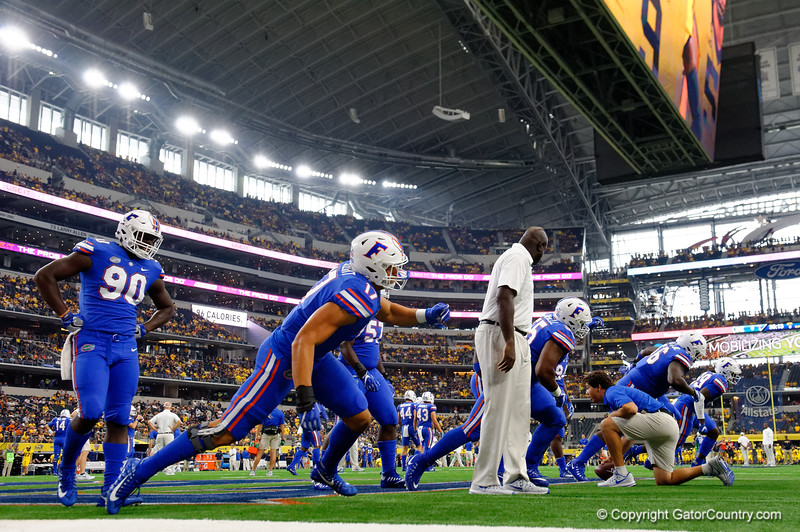 University of Florida Gators defensive lineman Jordan Sherit during pre-gamef of the 2017 Advocare Classic at AT&T Stadium in Dallas, Texas as the Florida Gators take on the Michigan Wolverines. September 2nd, 2017.  Gator Country photo by David Bowie.