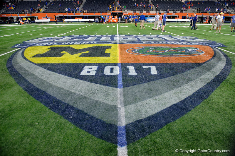 The midfield logo during post-game of the 2017 Advocare Classic at AT&T Stadium in Dallas, Texas as the Florida Gators take on the Michigan Wolverines. September 2nd, 2017.  Gator Country photo by David Bowie.
