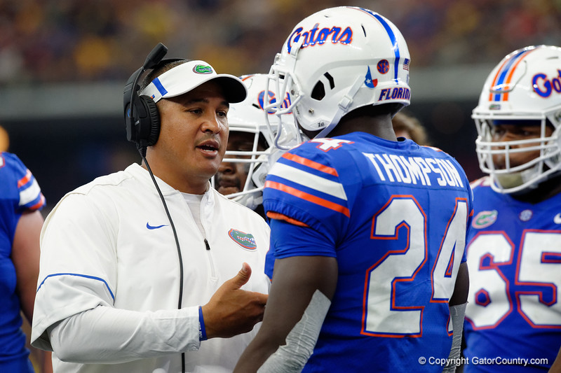 University of Florida Gators running backs coach Ja'Juan Seider coaching up University of Florida Gators running back Mark Thompson during the second half of the 2017 Advocare Classic at AT&T Stadium in Dallas, Texas as the Florida Gators take on the Michigan Wolverines. September 2nd, 2017.  Gator Country photo by David Bowie.