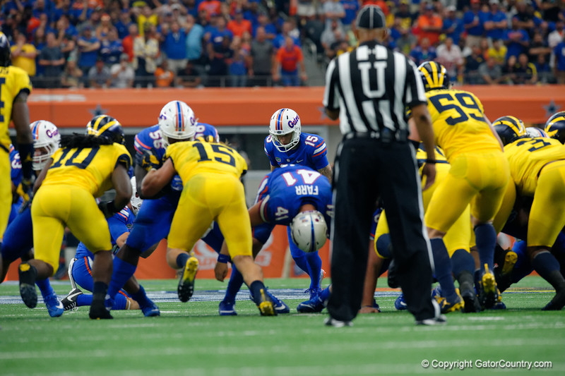 University of Florida Gators kicker Eddy Pineiro lines up for a field goal attempt during the first half of the 2017 Advocare Classic at AT&T Stadium in Dallas, Texas as the Florida Gators take on the Michigan Wolverines. September 2nd, 2017.  Gator Country photo by David Bowie.