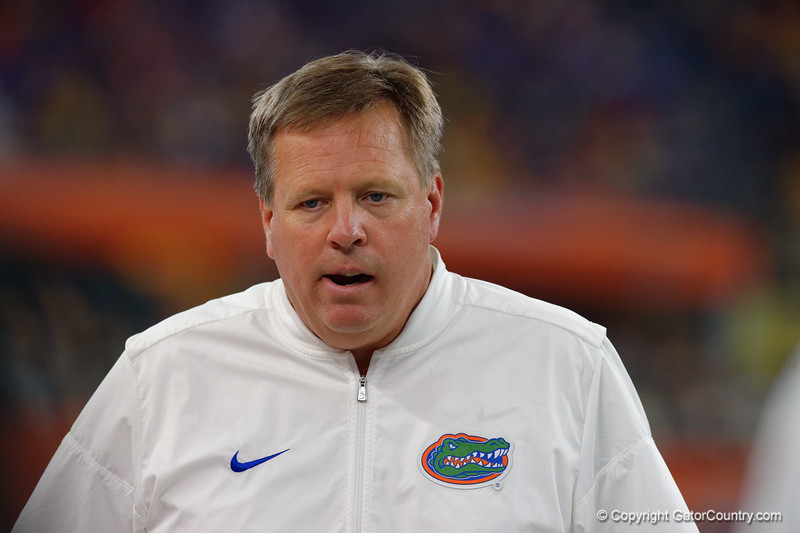 University of Florida Gators head coach Jim McElwain during the second half of the 2017 Advocare Classic at AT&T Stadium in Dallas, Texas as the Florida Gators take on the Michigan Wolverines. September 2nd, 2017.  Gator Country photo by David Bowie.