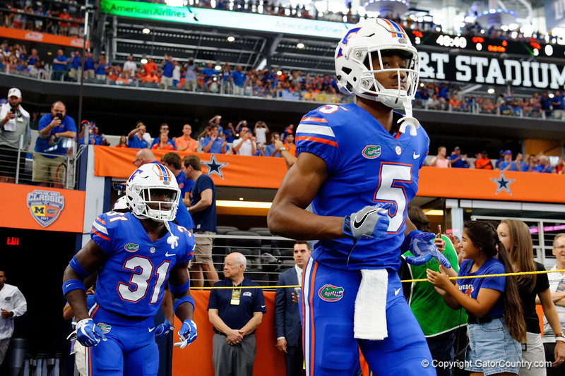 University of Florida Gators cornerback CJ Henderson and University of Florida Gators defensive back Shawn Davis during pre-gamef of the 2017 Advocare Classic at AT&T Stadium in Dallas, Texas as the Florida Gators take on the Michigan Wolverines. September 2nd, 2017.  Gator Country photo by David Bowie.