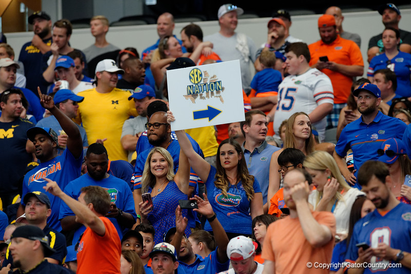 Florida Gator fans during the first half of the 2017 Advocare Classic at AT&T Stadium in Dallas, Texas as the Florida Gators take on the Michigan Wolverines. September 2nd, 2017.  Gator Country photo by David Bowie.