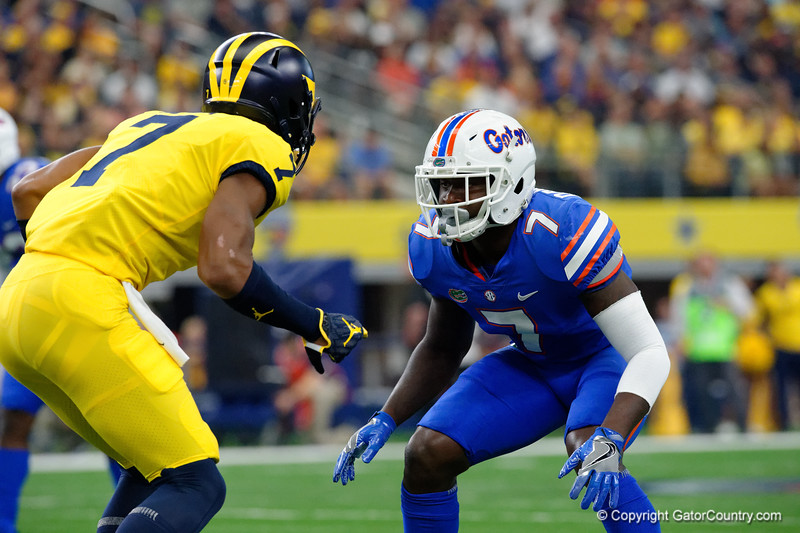University of Florida Gators defensive back Duke Dawson during the first half of the 2017 Advocare Classic at AT&T Stadium in Dallas, Texas as the Florida Gators take on the Michigan Wolverines. September 2nd, 2017.  Gator Country photo by David Bowie.