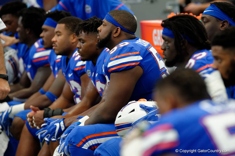 University of Florida Gators defensive lineman Kyree Campbell on the sidelines during the first half of the 2017 Advocare Classic at AT&T Stadium in Dallas, Texas as the Florida Gators take on the Michigan Wolverines. September 2nd, 2017.  Gator Country photo by David Bowie.