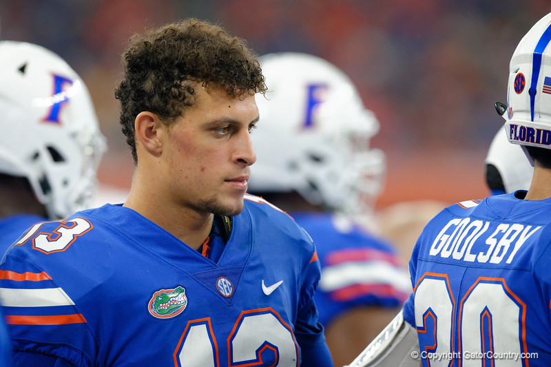 University of Florida Gators quarterback Feleipe Franks watching on from the sideline during the second half of the 2017 Advocare Classic at AT&T Stadium in Dallas, Texas as the Florida Gators take on the Michigan Wolverines. September 2nd, 2017.  Gator Country photo by David Bowie.