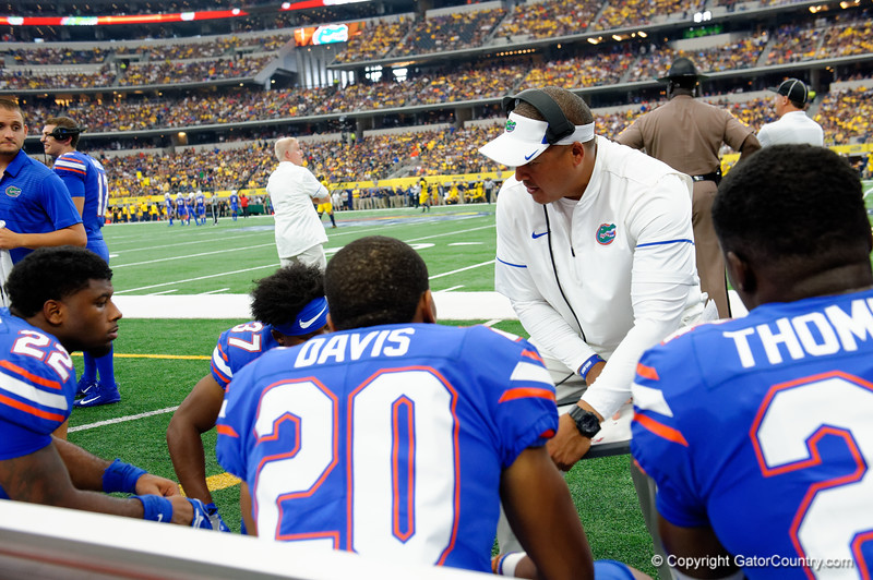 University of Florida Gators running backs coach Ja'Juan Seider coahcing up his running backs during the first half of the 2017 Advocare Classic at AT&T Stadium in Dallas, Texas as the Florida Gators take on the Michigan Wolverines. September 2nd, 2017.  Gator Country photo by David Bowie.