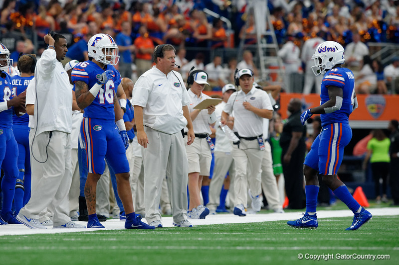 University of Florida Gators head coach Jim McElwain during the first half of the 2017 Advocare Classic at AT&T Stadium in Dallas, Texas as the Florida Gators take on the Michigan Wolverines. September 2nd, 2017.  Gator Country photo by David Bowie.