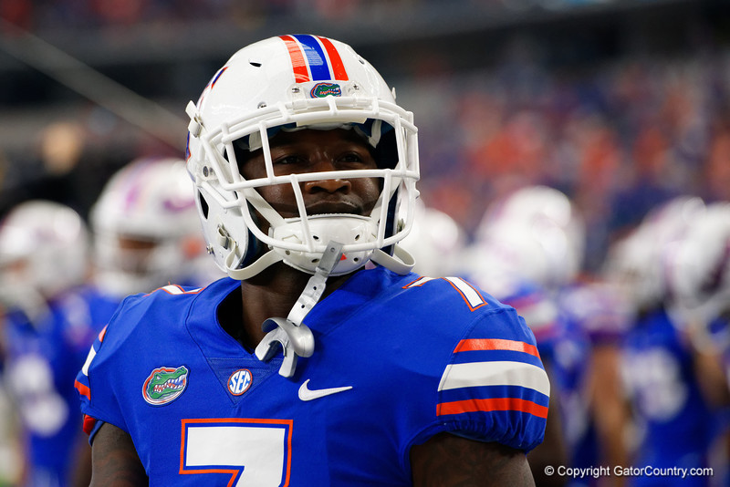 University of Florida Gators defensive back Duke Dawson during pre-gamef of the 2017 Advocare Classic at AT&T Stadium in Dallas, Texas as the Florida Gators take on the Michigan Wolverines. September 2nd, 2017.  Gator Country photo by David Bowie.