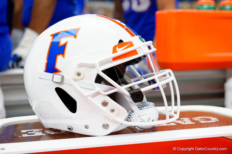 A Florida Gators helmet during the first half of the 2017 Advocare Classic at AT&T Stadium in Dallas, Texas as the Florida Gators take on the Michigan Wolverines. September 2nd, 2017.  Gator Country photo by David Bowie.