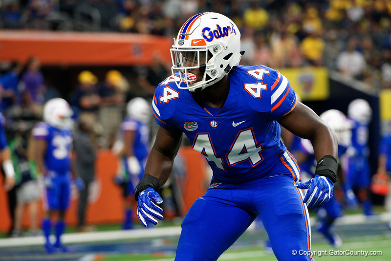 University of Florida Gators linebacker Rayshad Jackson during pre-gamef of the 2017 Advocare Classic at AT&T Stadium in Dallas, Texas as the Florida Gators take on the Michigan Wolverines. September 2nd, 2017.  Gator Country photo by David Bowie.