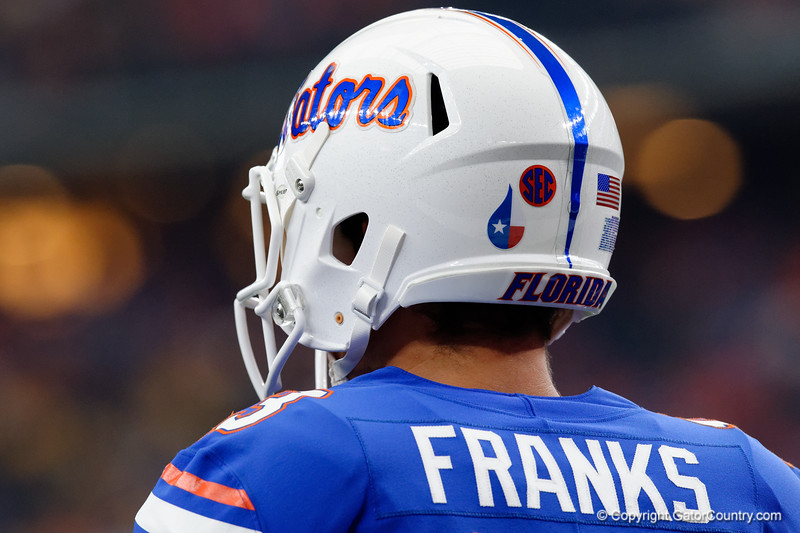 University of Florida Gators quarterback Feleipe Franks and the Gators sport the Relief for Houston decals on their helemts during pre-gamef of the 2017 Advocare Classic at AT&T Stadium in Dallas, Texas as the Florida Gators take on the Michigan Wolverines. September 2nd, 2017.  Gator Country photo by David Bowie.