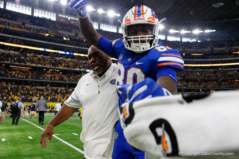 University of Florida Gators tight end C'yontai Lewis visibly upset during post-game of the 2017 Advocare Classic at AT&T Stadium in Dallas, Texas as the Florida Gators take on the Michigan Wolverines. September 2nd, 2017.  Gator Country photo by David Bowie.