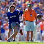 A fan kicks a field goal for $1000 during the first half in which the Gators lost 38-22 to the Florida State Seminoles at  Ben Hill Griffin Stadium in Gainesville, Florida. November 25th, 2017.  Gator Country photo by David Bowie.