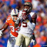 Florida State Seminoles wide receiver Erman Lane with a catch during the second half in which the Gators lost 38-22 to the Florida State Seminoles at  Ben Hill Griffin Stadium in Gainesville, Florida. November 25th, 2017.  Gator Country photo by David Bowie.