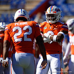 University of Florida Gators defensive back Brian Edwards and University of Florida Gators running back Lamical Perine having fun during pre-game in which the Gators lost 38-22 to the Florida State Seminoles at  Ben Hill Griffin Stadium in Gainesville, Florida. November 25th, 2017.  Gator Country photo by David Bowie.