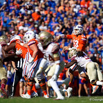 University of Florida Gators quarterback Feleipe Franks throwing as he is hit during the first half in which the Gators lost 38-22 to the Florida State Seminoles at  Ben Hill Griffin Stadium in Gainesville, Florida. November 25th, 2017.  Gator Country photo by David Bowie.