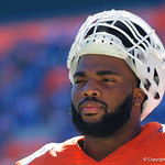 University of Florida Gators offensive lineman Martez Ivey during pre-game in which the Gators lost 38-22 to the Florida State Seminoles at  Ben Hill Griffin Stadium in Gainesville, Florida. November 25th, 2017.  Gator Country photo by David Bowie.