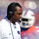 University of Florida Gators interim head coach Randy Shannon during the first half in which the Gators lost 38-22 to the Florida State Seminoles at  Ben Hill Griffin Stadium in Gainesville, Florida. November 25th, 2017.  Gator Country photo by David Bowie.