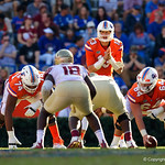 University of Florida Gators quarterback Feleipe Franks before a snap during the second half in which the Gators lost 38-22 to the Florida State Seminoles at  Ben Hill Griffin Stadium in Gainesville, Florida. November 25th, 2017.  Gator Country photo by David Bowie.