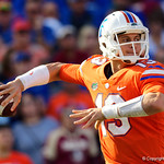 University of Florida Gators quarterback Feleipe Franks throwing during the second half in which the Gators lost 38-22 to the Florida State Seminoles at  Ben Hill Griffin Stadium in Gainesville, Florida. November 25th, 2017.  Gator Country photo by David Bowie.