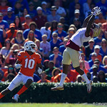 Florida State defensive back Kris Dixon intercepts a pass during the first half in which the Gators lost 38-22 to the Florida State Seminoles at  Ben Hill Griffin Stadium in Gainesville, Florida. November 25th, 2017.  Gator Country photo by David Bowie.