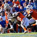Florida State running back Cam Akers rushes into the endzone during the second half in which the Gators lost 38-22 to the Florida State Seminoles at  Ben Hill Griffin Stadium in Gainesville, Florida. November 25th, 2017.  Gator Country photo by David Bowie.