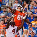 University of Florida Gators wide receiver Tyrie Cleveland has to swat the ball away to stop an interception during the second half in which the Gators lost 38-22 to the Florida State Seminoles at  Ben Hill Griffin Stadium in Gainesville, Florida. November 25th, 2017.  Gator Country photo by David Bowie.