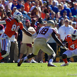 University of Florida Gators wide receiver Brandon Powell rushes up field during the first half in which the Gators lost 38-22 to the Florida State Seminoles at  Ben Hill Griffin Stadium in Gainesville, Florida. November 25th, 2017.  Gator Country photo by David Bowie.