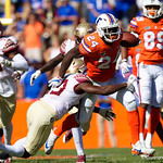 University of Florida Gators running back Mark Thompson rushing during the first half in which the Gators lost 38-22 to the Florida State Seminoles at  Ben Hill Griffin Stadium in Gainesville, Florida. November 25th, 2017.  Gator Country photo by David Bowie.