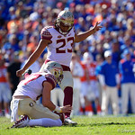 Seminoles kicker Ricky Aguayo kicks in a field goal during the first half in which the Gators lost 38-22 to the Florida State Seminoles at  Ben Hill Griffin Stadium in Gainesville, Florida. November 25th, 2017.  Gator Country photo by David Bowie.