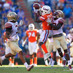 University of Florida Gators wide receiver Brandon Powell leaps for ball but is unable to come down with it during the second half in which the Gators lost 38-22 to the Florida State Seminoles at  Ben Hill Griffin Stadium in Gainesville, Florida. November 25th, 2017.  Gator Country photo by David Bowie.