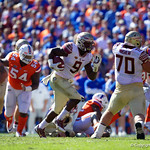 Seminoles running back Jacques Patrick rushing during the first half in which the Gators lost 38-22 to the Florida State Seminoles at  Ben Hill Griffin Stadium in Gainesville, Florida. November 25th, 2017.  Gator Country photo by David Bowie.