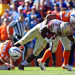 University of Florida Gators defensive lineman Cece Jefferson tackles Seminoles running back Seminoles running back Jacques Patrick during the first half in which the Gators lost 38-22 to the Florida State Seminoles at  Ben Hill Griffin Stadium in Gainesville, Florida. November 25th, 2017.  Gator Country photo by David Bowie.