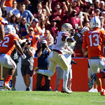 Florida State linebacker Matthew Thomas picks up a fumble and returns it into the endzone during the first half in which the Gators lost 38-22 to the Florida State Seminoles at  Ben Hill Griffin Stadium in Gainesville, Florida. November 25th, 2017.  Gator Country photo by David Bowie.