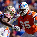 University of Florida Gators offensive lineman Jawaan Taylor during the first half in which the Gators lost 38-22 to the Florida State Seminoles at  Ben Hill Griffin Stadium in Gainesville, Florida. November 25th, 2017.  Gator Country photo by David Bowie.