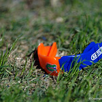 A Florida Gators mouthpiece rests on the field during pre-game in which the Gators lost 38-22 to the Florida State Seminoles at  Ben Hill Griffin Stadium in Gainesville, Florida. November 25th, 2017.  Gator Country photo by David Bowie.