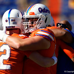 University of Florida Gators offensive lineman Tyler Jordan and University of Florida Gators quarterback Nick Sproles during pre-game in which the Gators lost 38-22 to the Florida State Seminoles at  Ben Hill Griffin Stadium in Gainesville, Florida. November 25th, 2017.  Gator Country photo by David Bowie.