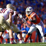 University of Florida Gators defensive end Antonneous Clayton rushes off the edge during the second half in which the Gators lost 38-22 to the Florida State Seminoles at  Ben Hill Griffin Stadium in Gainesville, Florida. November 25th, 2017.  Gator Country photo by David Bowie.