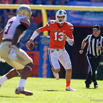University of Florida Gators quarterback Feleipe Franks scrambling down field during the first half in which the Gators lost 38-22 to the Florida State Seminoles at  Ben Hill Griffin Stadium in Gainesville, Florida. November 25th, 2017.  Gator Country photo by David Bowie.