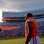 University of Florida Gators offensive lineman Fred Johnson walks off the field during post-game in which the Gators lost 38-22 to the Florida State Seminoles at  Ben Hill Griffin Stadium in Gainesville, Florida. November 25th, 2017.  Gator Country photo by David Bowie.