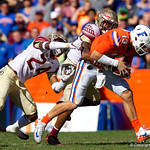 University of Florida Gators is sacked during the first half in which the Gators lost 38-22 to the Florida State Seminoles at  Ben Hill Griffin Stadium in Gainesville, Florida. November 25th, 2017.  Gator Country photo by David Bowie.