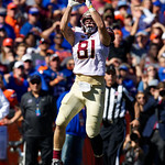 Seminoles tight end Ryan Izzo leaps into the air for a catch during the first half in which the Gators lost 38-22 to the Florida State Seminoles at  Ben Hill Griffin Stadium in Gainesville, Florida. November 25th, 2017.  Gator Country photo by David Bowie.